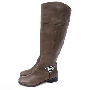 Michael Kors Leather Riding Boots Flat 7 Brown